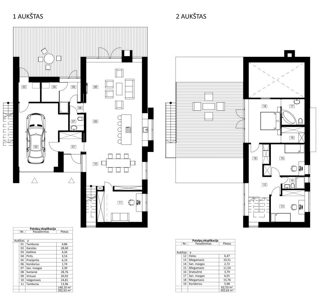 Gyvenamasis namas Kaišiadoryse - planai
