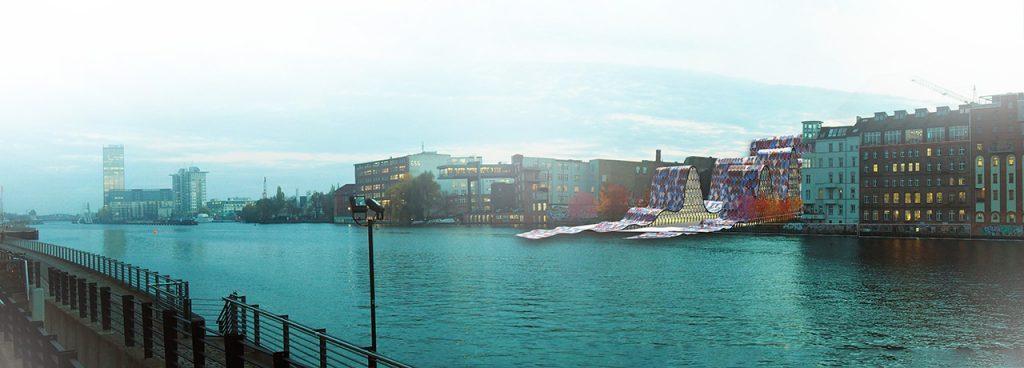 Multifunkcinis pastatas - vaizdas nuo upės