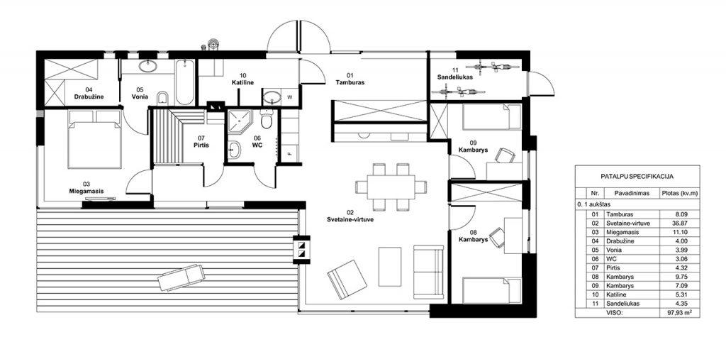 Gyvenamasis namas soduose - planas