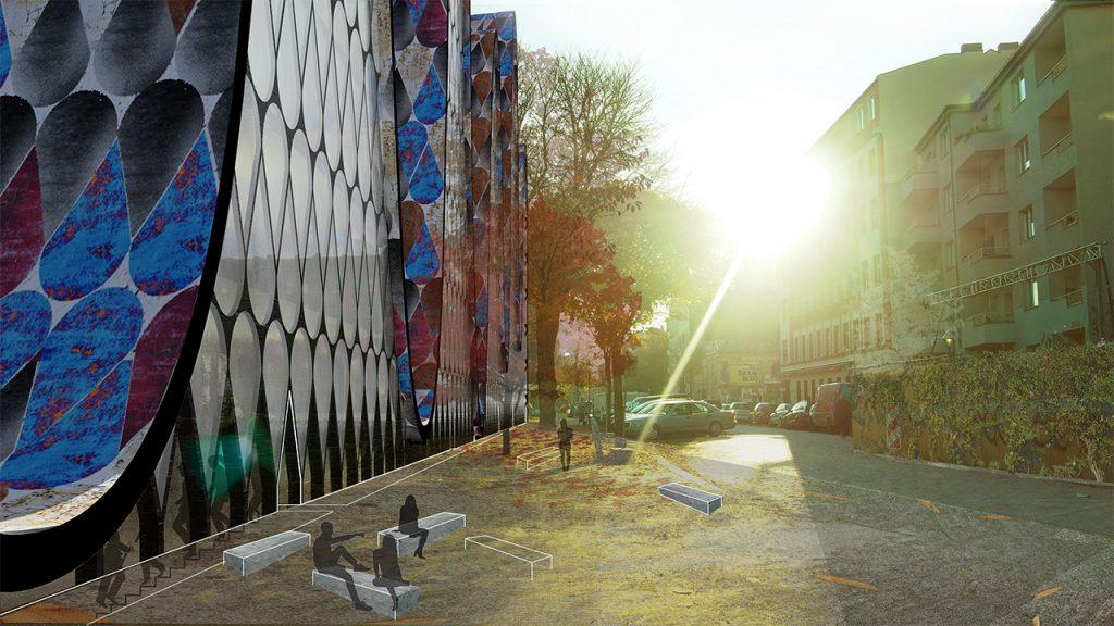 Multifunkcinis pastatas - vaizdas iš kiemo